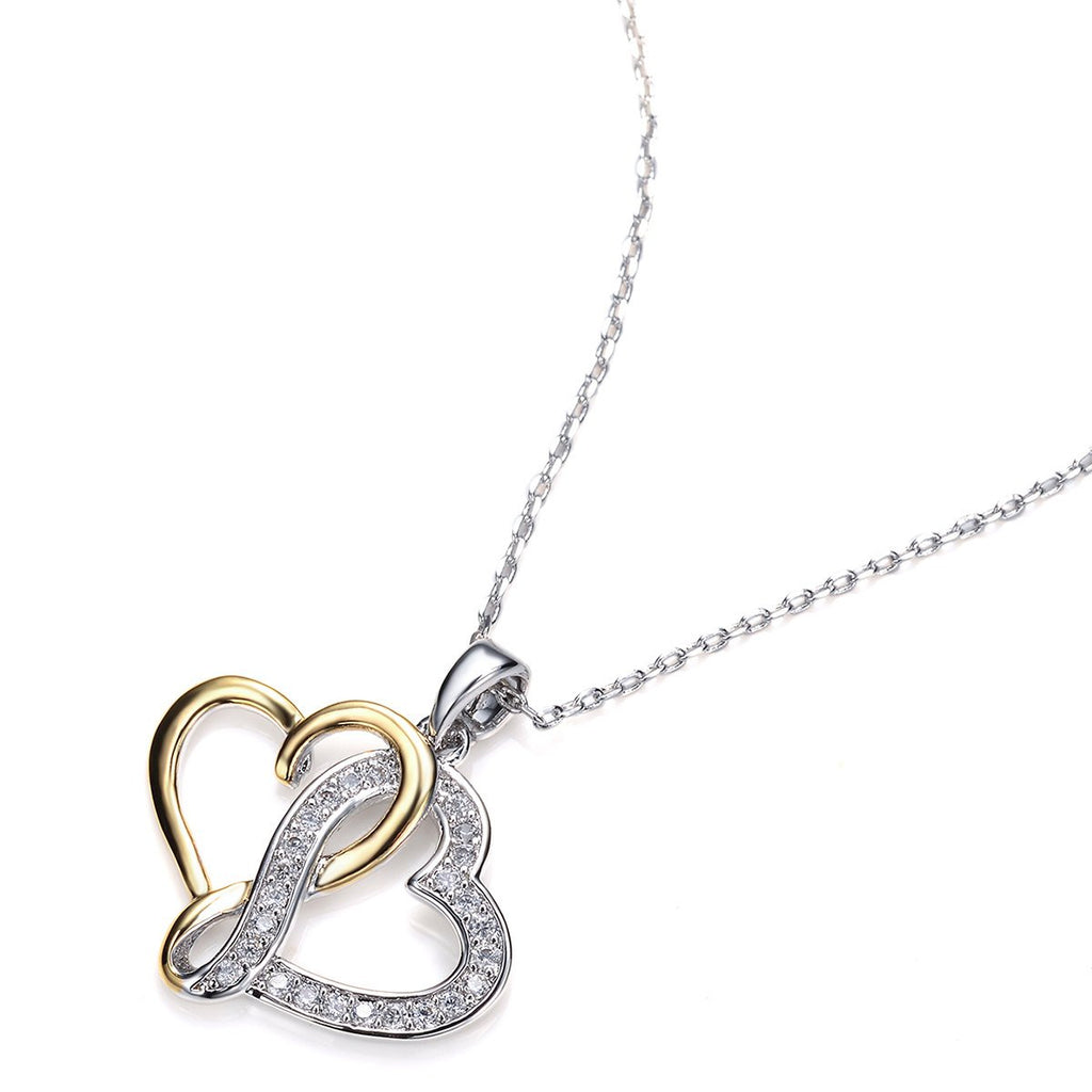 Heart Pave Set Round White Cubic Zirconia CZ Rhodium Yellow Gold Plated Necklace/Pendant - TiaraBleu