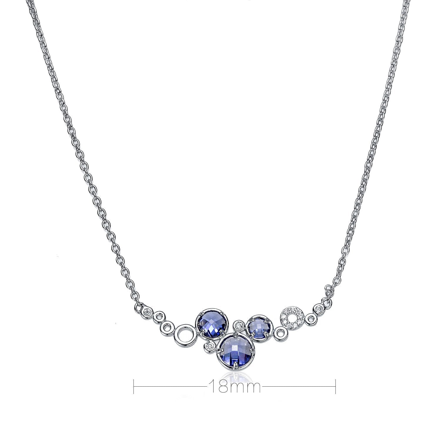Galaxy Dreams Rhodium plated Blue purple Tanzanite Cubic Zirconia Pendant/Necklace - TiaraBleu