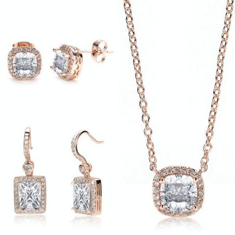 Miss Decó 18ct Rose Gold Plated Cubic Zirconia CZ 3 Piece Set Drop Stud Earrings - TiaraBleu