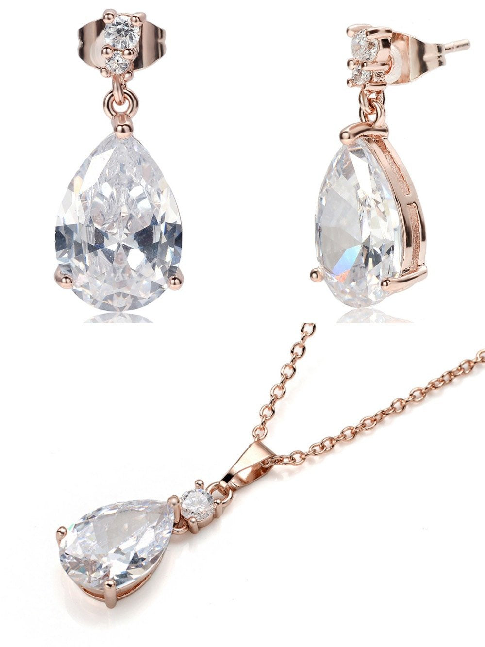 Decó Pear Shape Cubic Zirconia CZ 18ct Rose Gold Drop Earrings & Necklace Set - TiaraBleu