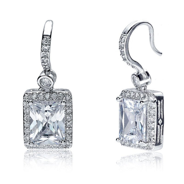 Decó White Rhodium Plated Cubic Zirconia CZ Set Stud Drop/Dangle and Stud Earrings - TiaraBleu