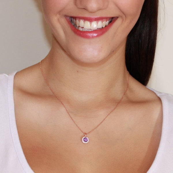 Classic Solest Cluster Rose Gold Plated Round Purple Amethyst Cubic Zirconia CZ Necklace/Pendant - TiaraBleu