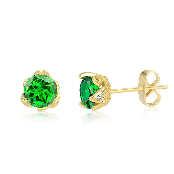 May Birthday Bequest Rhodium Yellow Emerald Green Round Cubic Zirconia CZ Stud Earrings - TiaraBleu