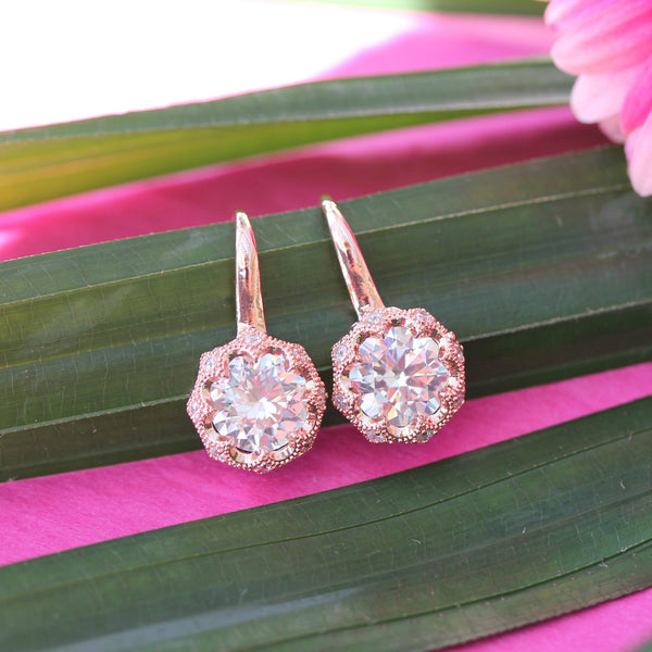 Vintage Stage Decó Round White Cubic Zirconia CZ 18ct Rose Gold Plated Drop Dangle Earrings