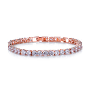 Classic 18ct Rose  Gold Plated Round Clear White Cubic Zirconia CZ Tennis Bracelet