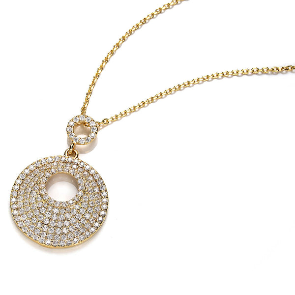 Pave Set YG High Quality CZ Pendant Charm Gold Necklace Chain Necklace/Pendant - TiaraBleu