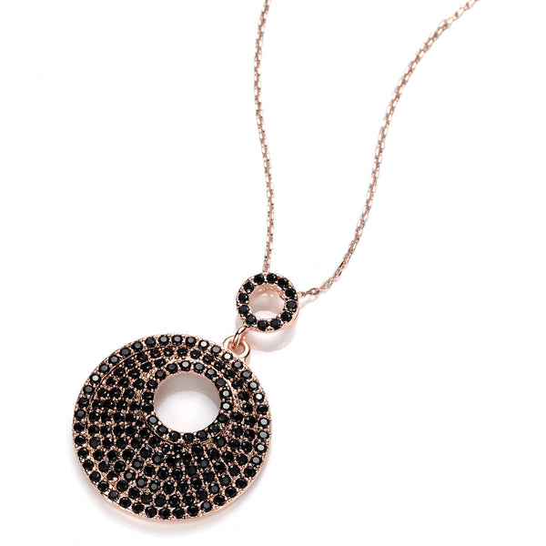 Pave Set Pebble RG Black CZ Pendant Charm Gold Chain Necklace/Pendant - TiaraBleu