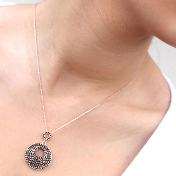 Pave Set Pebble WG Quality Black CZ Pendant Charm Gold Chain Necklace/Pendant - TiaraBleu