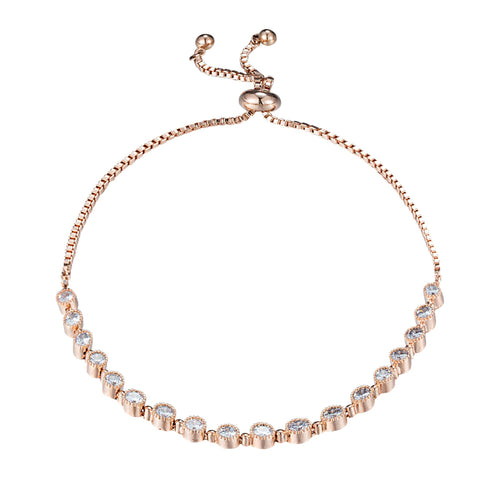 Classic 18ct Rose Gold Plated White Cubic Zirconia CZ Slide Adjustable Tennis Bracelet - TiaraBleu