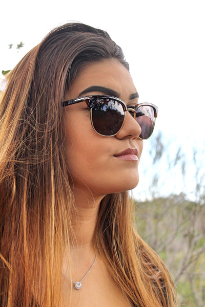 "Tiara-""Whos The Boss"" Flat Top Tortoise Shell Sunglasses - TiaraBleu"
