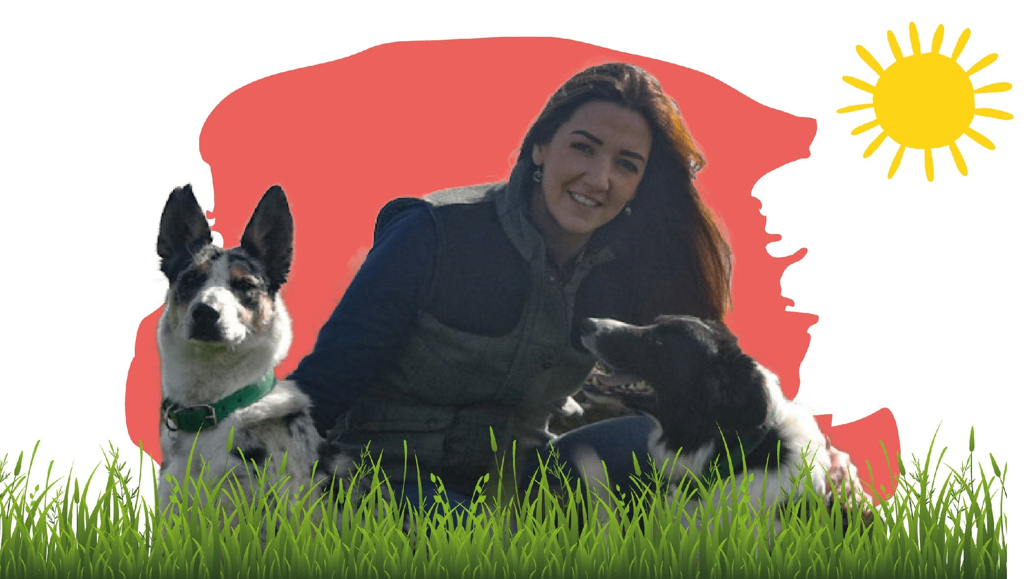 Image of founder Joanne with her two dogs