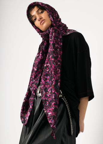 Large silk/cotton scarf in flower print, 140 cm x 140 cm