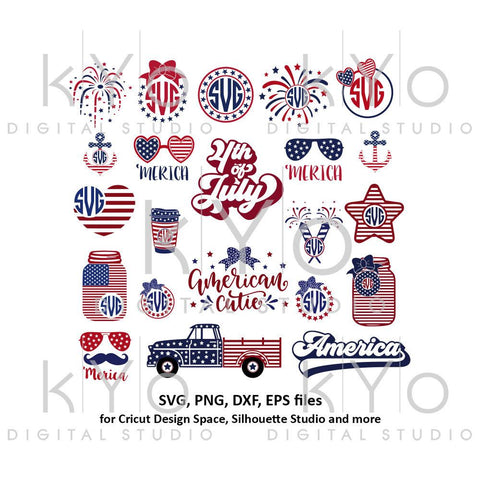 4th of July svg bundle, US flag svg, American Flag Bow, 4th of July Mason Jar, 4th of July Truck, Anchor, Glasses, Fireworks, Merica, Stars and stripes svg png dxf files for Cricut and Silhouette.