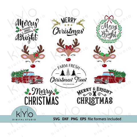 Christmas svg bundle, Merry and Bright, Christmas tree farm, Wreath, Hand lettered sign, Red truck, Rudolph Reindeer face with eyelashes svg cut files