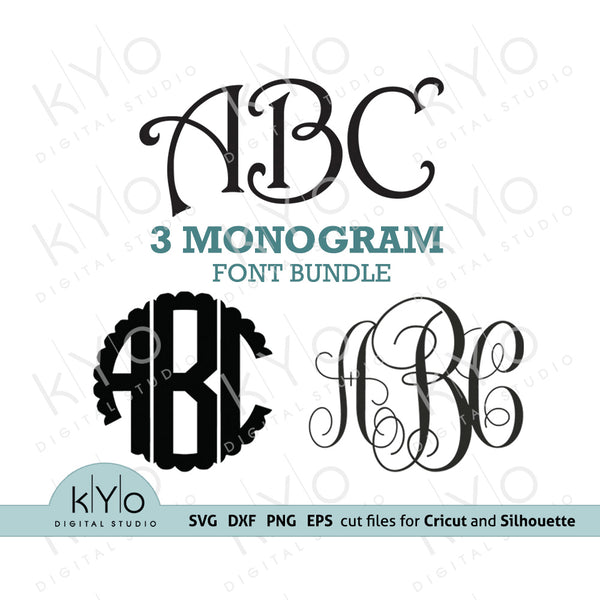 Scalloped Vine Harrington Monogram Font Bundle svg - kYoDigitalStudio