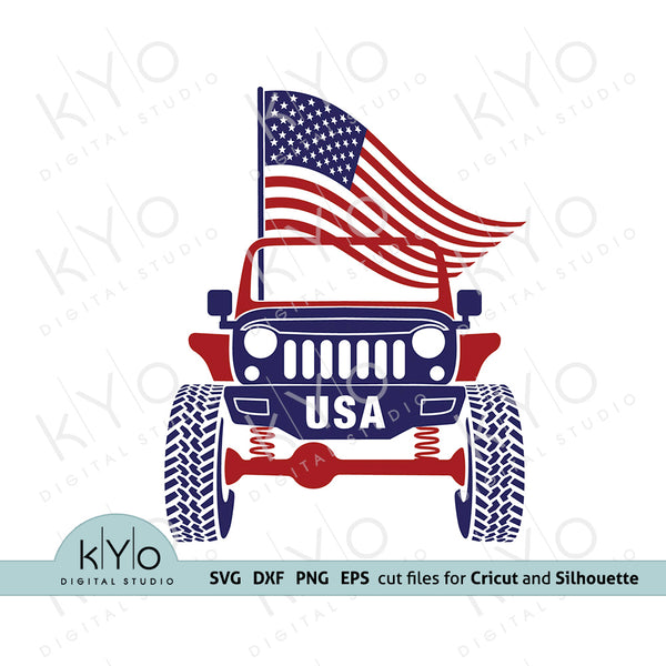 4th of July Jeep Wrangler Rubicon Svg Png Dxf Eps Files