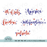 4th of July Lettered Svg cutting files, Independence Day lettering  Svg, Patriotic svg files, svg files for Cricut, Silhouette Cameo cut files, Fourth of July svg