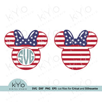 4th of July Minnie Mouse Svg cutting files, American flag Minnie Ears Svg, Fourth of July svg, US Flag Minnie Monogram svg, Independence Day Svg files for Cricut and Silhouette