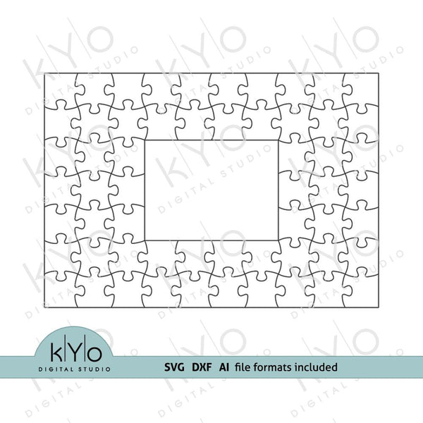 Rectangle Photo Frame Jigsaw Puzzle Template svg dxf ai files 7x10 pieces V1-kYoDigitalStudio