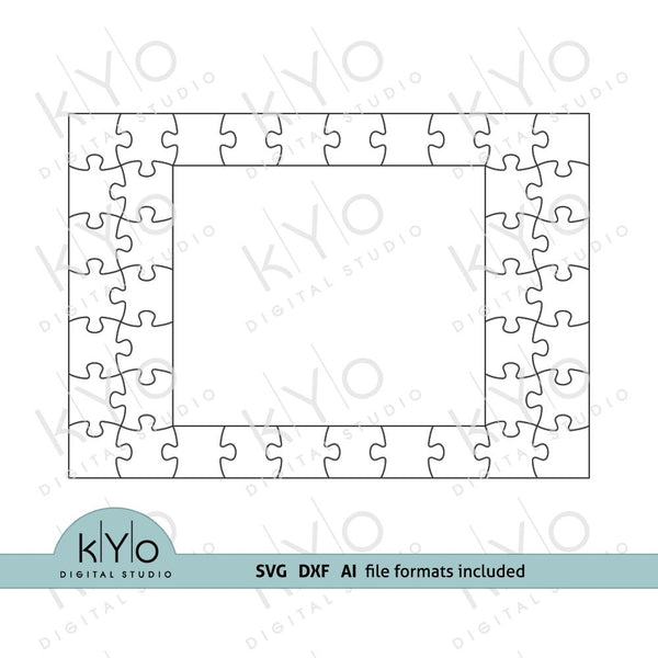 Rectangle Photo Frame Jigsaw Puzzle Template svg dxf ai files 7x10 pieces V2-kYoDigitalStudio