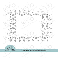 Rectangle Photo Frame Jigsaw Puzzle Template svg dxf ai files 7x10 pieces V4-kYoDigitalStudio