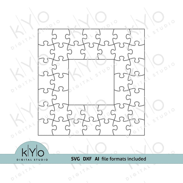 Square Photo Frame Jigsaw Puzzle Template svg dxf ai files V1-kYoDigitalStudio