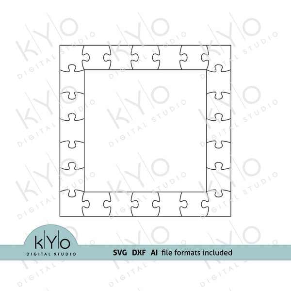 Square Photo Frame Jigsaw Puzzle Template svg dxf ai files V2-kYoDigitalStudio