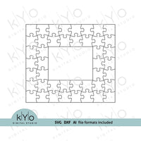 Rectangle Photo Frame Jigsaw Puzzle Template svg dxf ai files 7x8 pieces V1-kYoDigitalStudio
