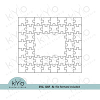 Rectangle Photo Frame Jigsaw Puzzle Template svg dxf ai files 7x8 pieces V2-kYoDigitalStudio