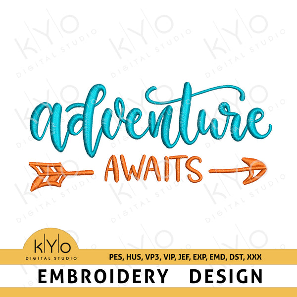 Adventure awaits arrow embroidery design pes hus vp3 vip jef exp emd dst Machine embroidery files, hand lettered embroidery pattern