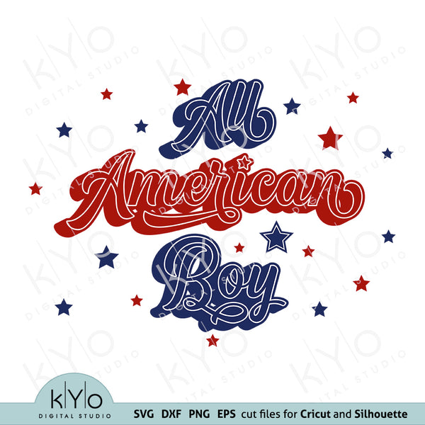 All American Boy 4th of July Shirt Design Svg Png Dxf Cut files by kyodigitalstudio.com