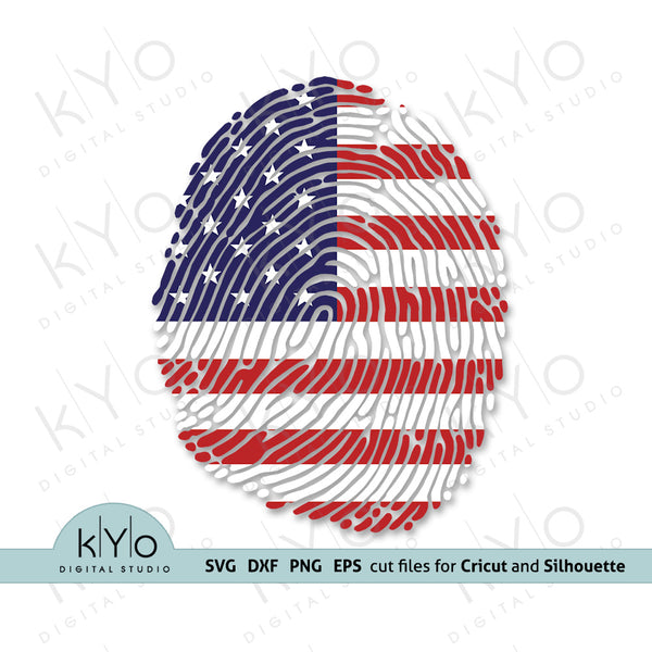 4th of july American flag Fingerprint Svg Png Dxf Eps Cutting and Printing Files @ https://kyodigitalstudio.com