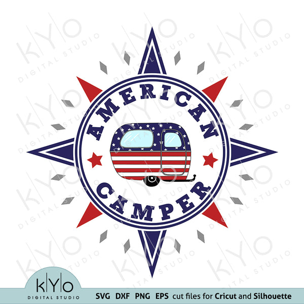 Vintage American Flag Camper in Compass Svg Png Dxf Eps Cutting files