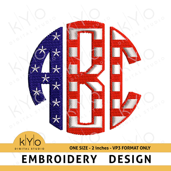 4th of July American flag Circle Monogram Font VP3 Embroidery Files 2 inches high, USA American Monogram Machine embroidery font, America flag VP3 monogram letters