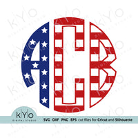 4th of July American Flag Circle Monogram Font svg png dxf eps cut files @kyodigitlastudio