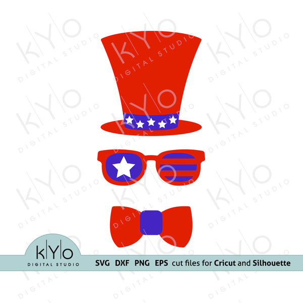 4th of July Hat Glasses Bow svg, American US Flag svg, Fourth of July svg, Uncle Sam Svg, Independence Day SVG files for Cricut, Silhouette, Brother, Stars and Stripes svg, Red Blue White Svg