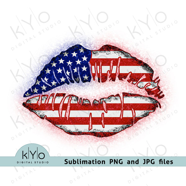 American Flag Lips 4th of July Patriotic Sublimation Shirt Printing Design Png and Jpg Image Files
