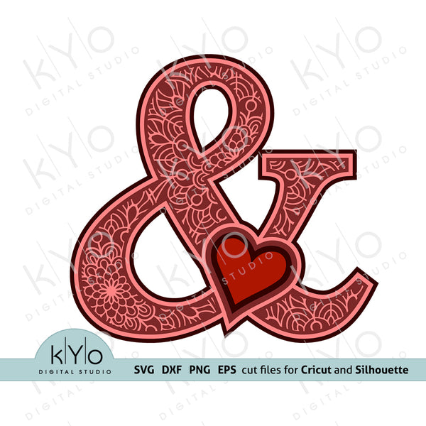Ampersand And Sign with Heart 3D Layered Design Svg Png Dxf Eps Files