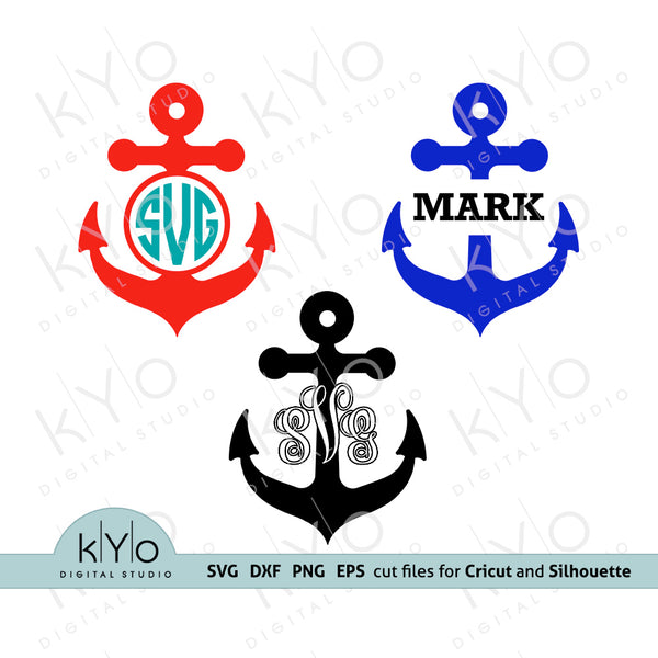 Anchor Svg Cutting Files, Anchor Monogram Svg, Nautical Svg files, Summer Svg files, Svg files for Cricut Explore, Silhouette Cameo files