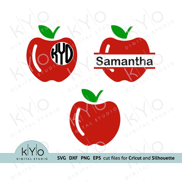 Apple Monogram SVG, Teacher SVG, Apple SVG, Split Apple SVG, School SVG, School life svg cutting image files for Cricut and Silhouette, commercial use svg