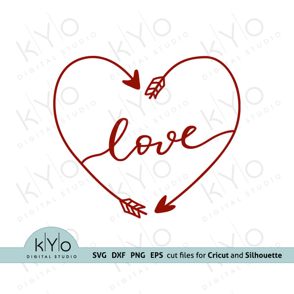 Arrow Heart with Love hand lettered wording Svg Png Dxf Eps Files for Cricut and Silhouette and Laser cutting DIY crafting projects.
