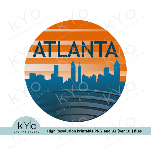 Atlanta Skyline in Circle Shirt Sublimation, Screen or DTG printing design.