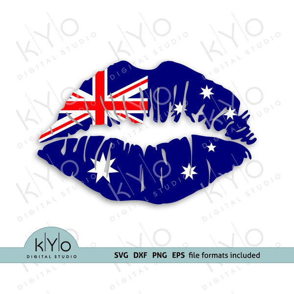 Australian flag lips shirt design svg png dxf files-kYoDigitalStudio