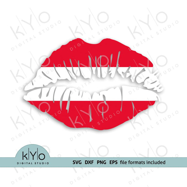 Austrian flag girl lips shirt design svg png dxf files-kYoDigitalStudio