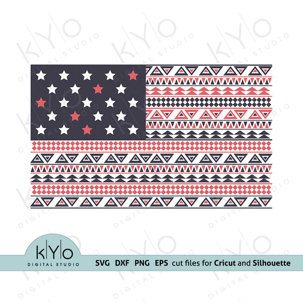 Aztec Pattern American Flag Svg Png Dxf Eps Files by kyodigitalstudio.com