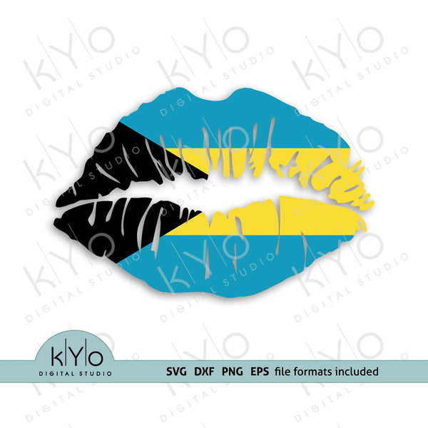 Bahamas flag girl lips shirt design svg png dxf files-kYoDigitalStudio