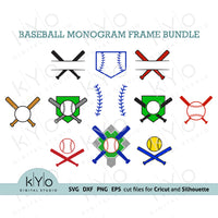 Baseball and Softball Monogram frames svg cutting files bundle-kYoDigitalStudio