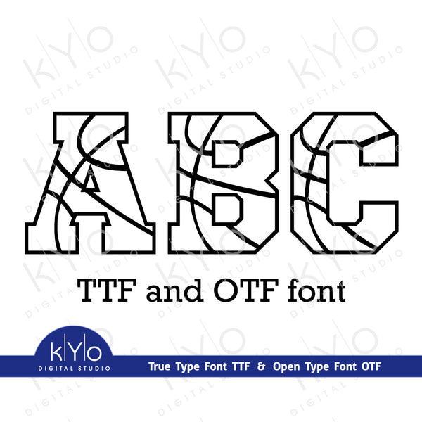 Basketball Font in TTF and OTF formats, Installable Basketball Ball Pattern True type font, Full Set of Capital Letters and Numbers by Kyo Digital Studio