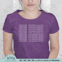 Be Kind Outline Stacked Shirt Design Svg Png Dxf Eps Cut and Print Files