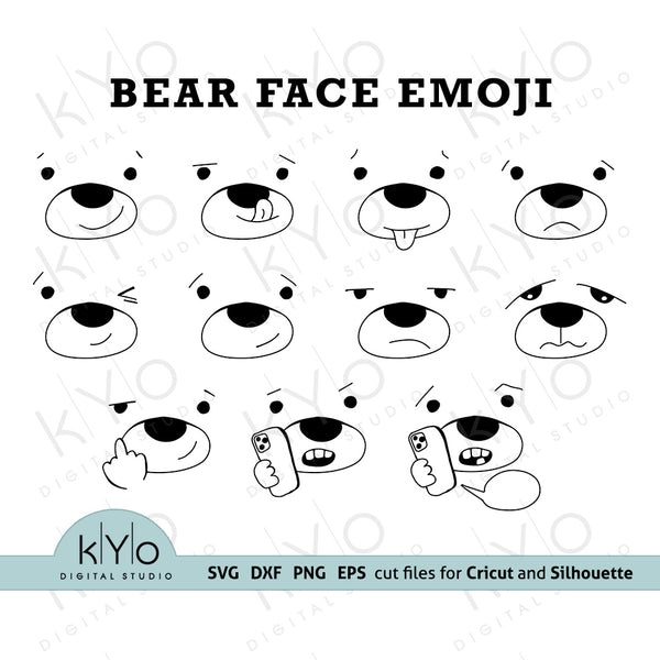 Hand Drawn Bear Face Emoji Bundle Svg Png Dxf Eps Files for Cricut and Silhouette and Laser cutting and Printing DIY crafting projects.